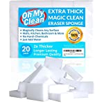 (20 Pack) Extra Large Magic Cleaning Eraser Sponge - 2X Thick, 2X Longer Lasting Melamine Sponges in Bulk - Multi Surface Power Scrubber Foam Pads - Bathtub, Floor, Baseboard, Bathroom, Wall Cleaner 10 WHILE SOME OTHER ERASER SPONGES are too small, don't work, or simply fall apart, we raised the bar and designed our eraser sponges to be extra thick for long lasting cleaning power. With premium quality melamine foam and incredible density, Oh My Clean eraser sponges easily lift away scuffs and grime, every time. JUST ADD WATER TO ERASE - Put away that smelly bleach. Say no to abrasive, corrosive chemicals. Grab the gentle and effective cleaning alternative. Simply wet with water, squeeze and wipe, letting the eraser do the work. It's that easy. TRUSTED BY PROFESSIONAL CLEANERS - Whether you have an occasional mark or a large cleaning company, you will enjoy the incredible value of our eraser bulk packs. Why spend a fortune on sponges? Stock up, save, and be prepared for any cleaning job.