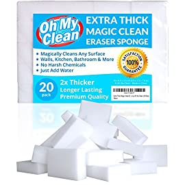 "(20 Pack) Extra Large Eraser Sponge - Extra Thick, Long Lasting, Premium Melamine Sponges in Bulk - Multi Surface Power Scrubber Foam Cleaning Pads - Bathtub, Floor, Baseboard, Bathroom, Wall Cleaner 16 <p>WHILE SOME OTHER ERASER SPONGES are too small, don't work, or simply fall apart, we raised the bar and designed our eraser sponges to be extra thick for long lasting cleaning power. With premium quality melamine foam and incredible density, Oh My Clean eraser sponges easily lift away scuffs and grime, every time. JUST ADD WATER TO ERASE - Put away that smelly bleach. Say no to abrasive, corrosive chemicals. Grab the gentle and effective cleaning alternative. Simply wet with water, squeeze and wipe, letting the eraser do the work. It's that easy. TRUSTED BY PROFESSIONAL CLEANERS - Whether you have an occasional mark or a large cleaning company, you will enjoy the incredible value of our eraser bulk packs. Why spend a fortune on sponges? Stock up, save, and be prepared for any cleaning job. MULTI-PURPOSE CLEANER - Our unique sponges effortlessly cut through grease, soap scum and ""permanent"" marks. Use in your kitchen, bathroom, walls, doors, floors, shower, bath, tub, shoes, car, toilet, sink, and more - without the scrubbing and elbow grease. 100% MONEY BACK GUARANTEE - If you are not absolutely thrilled with your Oh My Clean Eraser Sponges, return them for a full refund. No questions asked. We stand behind the quality of our products and are confident you will LOVE your eraser sponges.</p>"