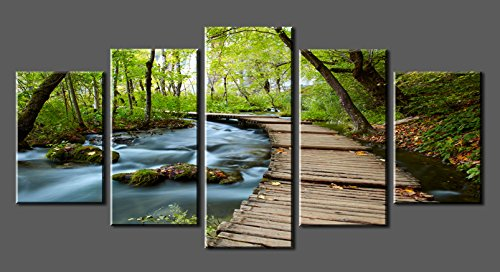 Canvas prints sk0010 wall art bridge the woods stretched and framed ready to hang 5 panels canvas print bridge the woods canvas art for home decoration by
