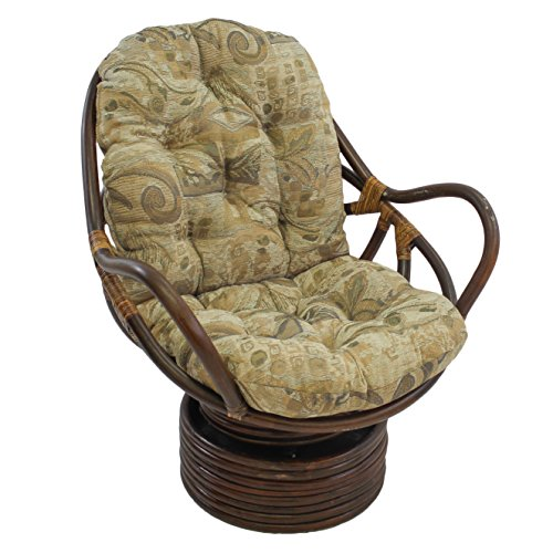 Blazing Needles Patterned Jacquard Chenille Swivel Rocker Chair Cushion, 48 x 24 , Wind Song
