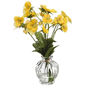 "8"" Pansy in Glass Vase Yellow (pack of 12) 77"