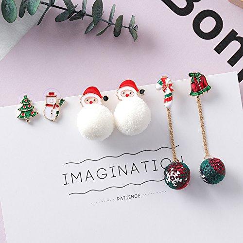 (usongs Korean earrings sweet personality fun Christmas Snowball Christmas Santa Claus Christmas theme ear jewelry)