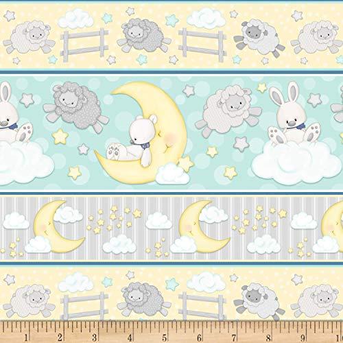 Henry Glass Flannel Sleepy Bear Novelty Stripe Multi Fabric by The Yard ()
