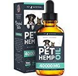 Pet Nutrition - Hemp Oil Dogs Cats - 40 000 MG - Anxiety, Pain, Stress, Arthritis, Seizures Relief - Better Sleep - Grown & Made in USA - Omega 3, 6, 9 & Vitamin E