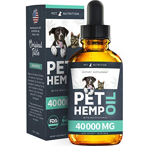 Pet Nutrition - Hemp Oil Dogs Cats - 40 000 MG - Anxiety, Pain, Stress, Arthritis, Seizures Relief - Better Sleep - Grown & Made in USA - Omega 3, 6, 9 & Vitamin E