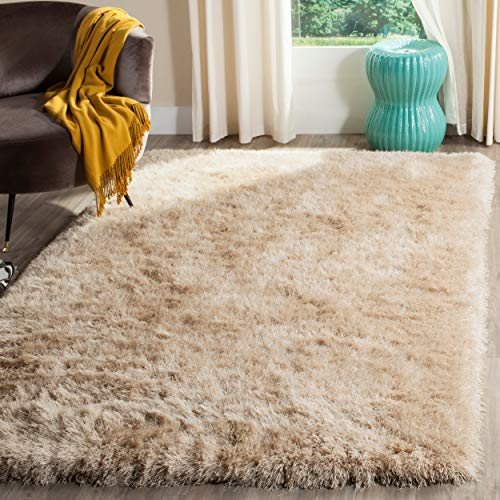 (Safavieh Venice Shag Collection SG256C Handmade Champagne Polyester Area Rug (8'6