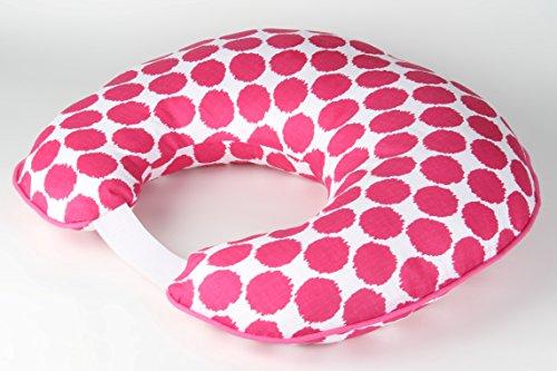 Bacati Ikat Dots Muslin Fabric Hugster Nursing Pillow with Insert, Bright Pink