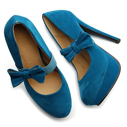 Ollio Donne Pelle Banda Colore Pompa Jane Blu Tallone Scarpa Piattaforma Mary Scamosciata Nastro Multi SSgxBAFwq