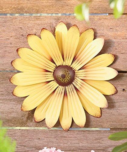 Amazon.com: Set of 3 Cream Red Yellow Metal Flower Wall Art Garden ...