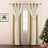NICETOWN Double-Layer Mix & Match Dressing Beige Sheer Plus Blackout Curtains for Sliding/Patio Door, Window Treatment Draperies (1 Pair of 2-Layers Panels, 95 inch Long, Tie Backs Included)