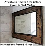 master bathroom pictures Herringbone Reclaimed Wood Framed Mirror, Available in 4 Sizes and 20 Stain colors: Shown in Dark Walnut - Large Wall Mirror - Rustic Modern Home - Home Decor - Housewares