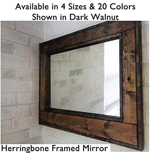 Herringbone Reclaimed Wood Framed Mirror, Available in 4 Sizes and 20 Stain colors: Shown in Dark Walnut - Large Wall Mirror - Rustic Modern Home - Home Decor - Housewares