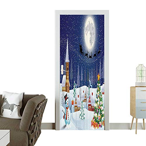 Homesonne Door Sticker Wallpaper Christmas Bathroom Curtains Christmas Eve in Small Town Santa Tree Fashion and Various patternW30 x H80 INCH for $<!--$39.99-->