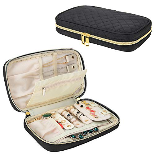 Teamoy Travel Jewelry Organizer, Quilted Jewelry Case for Rings, Necklaces, Earrings, Bracelets and More, Black-Bag Only