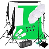 Kshioe 2Mx3M/6.6ft x 9.8ft Background Support System and 1700W 5500K Umbrellas Softbox Continuous Lighting Kit for Photo Studio Product,Portrait and Video Shoot Photography