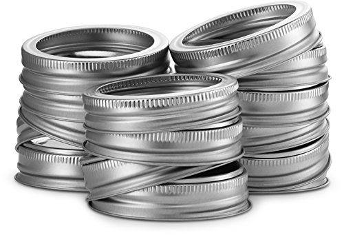 - KooK Mason Jar 2- Piece Lids, Regular Mouth, Silver, 16 pack. (Includes Lid and Band)
