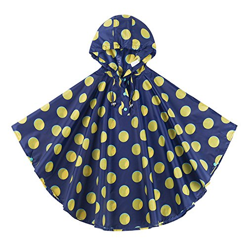 (Spring Fever Girls Kids Toddler Hooded School Backpack Rain Ponchos Jacket Raincoats Blue Yellow L (Fit 51.2