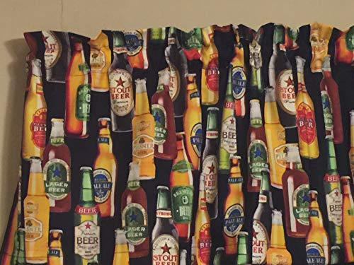 - Beer Bottle Lager Brew Man Cave Window Treatment Topper Valance Decor