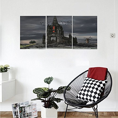 Liguo88 Custom canvas Gothic Decor Collection Mystery Gothic Castle Edinburgh Darkness Dramatic Sky Clouds Bat and Old Building Picture Bedroom Living Room Wall Hanging - In Stores Edinburgh