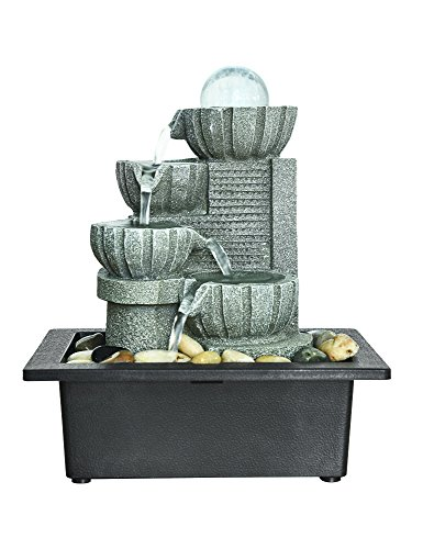 BBabe 4-Tier Indoor Tabletop Fountain with LED Crystal Ball Accent 11