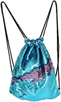 Play Tailor Mermaid Reversible Sequin Drawstring Backpack Glittering Outdoor Shoulder Bag