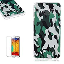 Samsung Galaxy Core Prime G360 Case [with Free Screen Protector],Funyye Premium Transparent Liquid Crystal Clear Flexible Rubber Soft TPU Gel Silicone Ultra Thin Slim Back Skin Bumper Case Cover for Samsung Galaxy Core Prime G360 - Camouflage