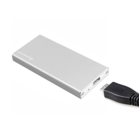 SALCAR Carcasa Aluminio con USB 3.0 mSATA para Discos Duros Adaptador Estuche con USB 3.0 Cable de Datos para SSD mSATA M50 M30 UASP (Plata)