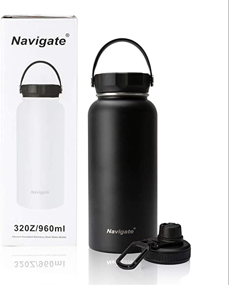 32oz Stainless Steel Double Walled Vacuum Sport Bottle with Straw Wide Mouth Lid