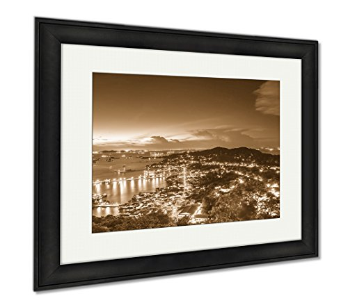 Ashley Framed Prints Top View Point City Of Koh Sichang Jetty At Morning Sunrise, Modern Room Accent Piece, Sepia, 34x40 (frame size), Black Frame, - Road Jetty Shops