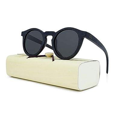 daf4856b0e0 Amazon.com  Round Wooden Sunglasses for Men   Women