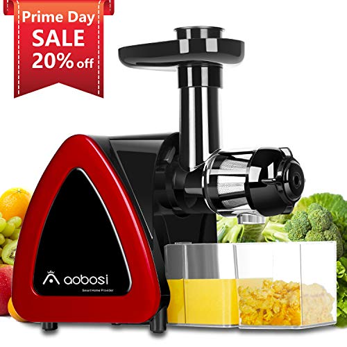 Aobosi Slow Masticating juicer Extractor, Cold Press Juicer Machine, Quiet Motor, Reverse Function, High Nutrient Fruit and Vegetable Juice with Juice Jug & Brush for Cleaning (Bright Red)