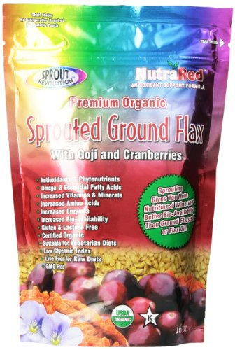 Sprout Revolution Nutrared Sprouted Flax Seed Powder with Goji And Cranberries, 16 Ounce Pouch