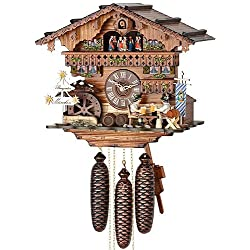 German Cuckoo Clock 8-day-movement Chalet-Style 13.00 inch - Authentic black forest cuckoo clock by Hekas
