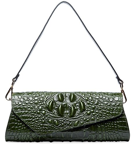 Party Leather PIFUREN Skin Womens Embossed Evening Crocodile Clutch Green Classic M1114 rqTOZ7qa0