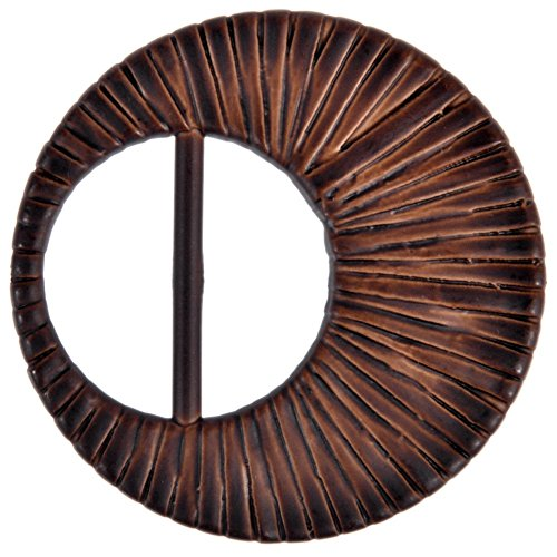 Mibo Imitation Raffia Buckle Half Moon Shape Wrapped Straw Pattern 35mm Inside Bar Brown