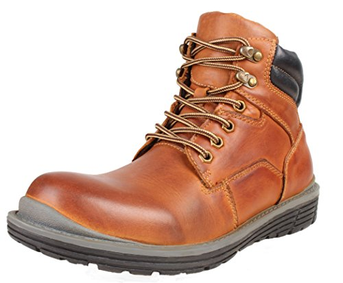 Kunsto Men's Leather Casual Ankle Boot Lace Up US Size 10.5 Brown
