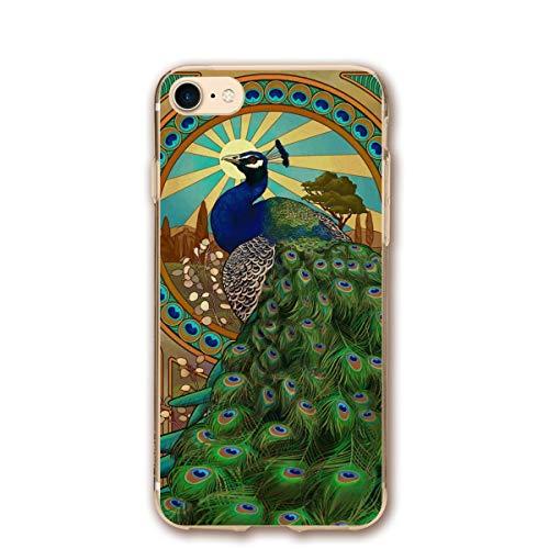 Phone case Compatible with iPhone 7 iPhone 8 Art Nouveau Peacock Lightweight Anti-Fingerprint Slim Soft Covers