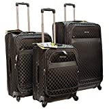 ''E-Z Roll'' Brand 4 Wheels Spinner Checker Pattern 3 piece /Set Luggage/Suitcase (Black)