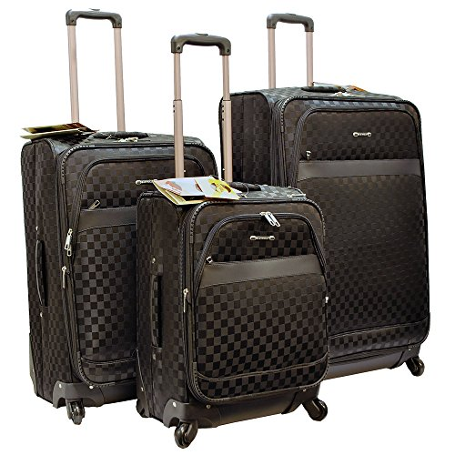 ''E-Z Roll'' Brand 4 Wheels Spinner Checker Pattern 3 piece /Set Luggage/Suitcase (Black) by E-Z Roll