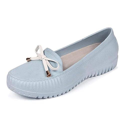 Yudesun Zapatos para Mujer Mocasines Plano - Punta Redonda Seguridad Calzado de Trabajo Casual Suave Antideslizante Impermeable Zapatos de Enfermera ...