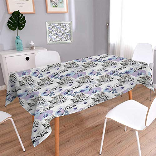 Anmaseven Safari Oblong Washable Tablecloth Savannah Nature Leopards with Exotic Flowers Boho Wild Life Theme African Violets Waterproof Tablecloths Multicolor Size: W70 x ()