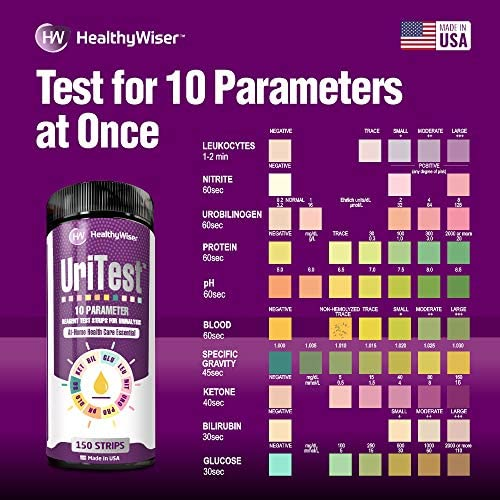10 Parameters Urine Test Strips for Urinalysis. Made in USA. 150 Count. Includes: pH Test, Ketones, Protein. Reagent Test Paper. for Whole Family and Pets 5