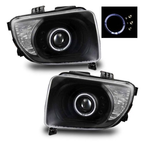 SPPC Projector Headlights Black Assembly with Halo for Honda Element - (Pair) Driver Left and Passenger Right Side Replacement Headlamp (Honda Element Headlight Headlamp)