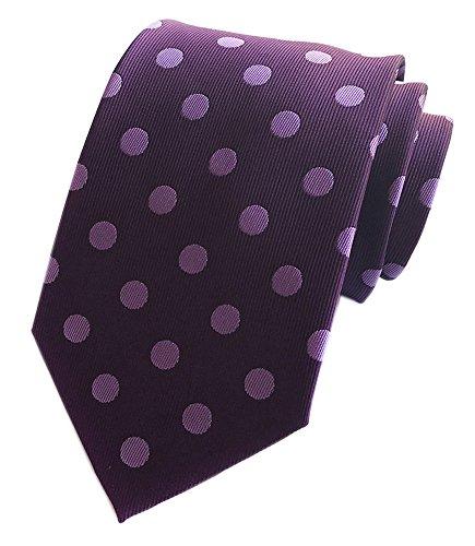 Secdtie Men Purple Polka Dot Silk Cravat Tie Jacquard Woven Casual Neckwear Y011 -