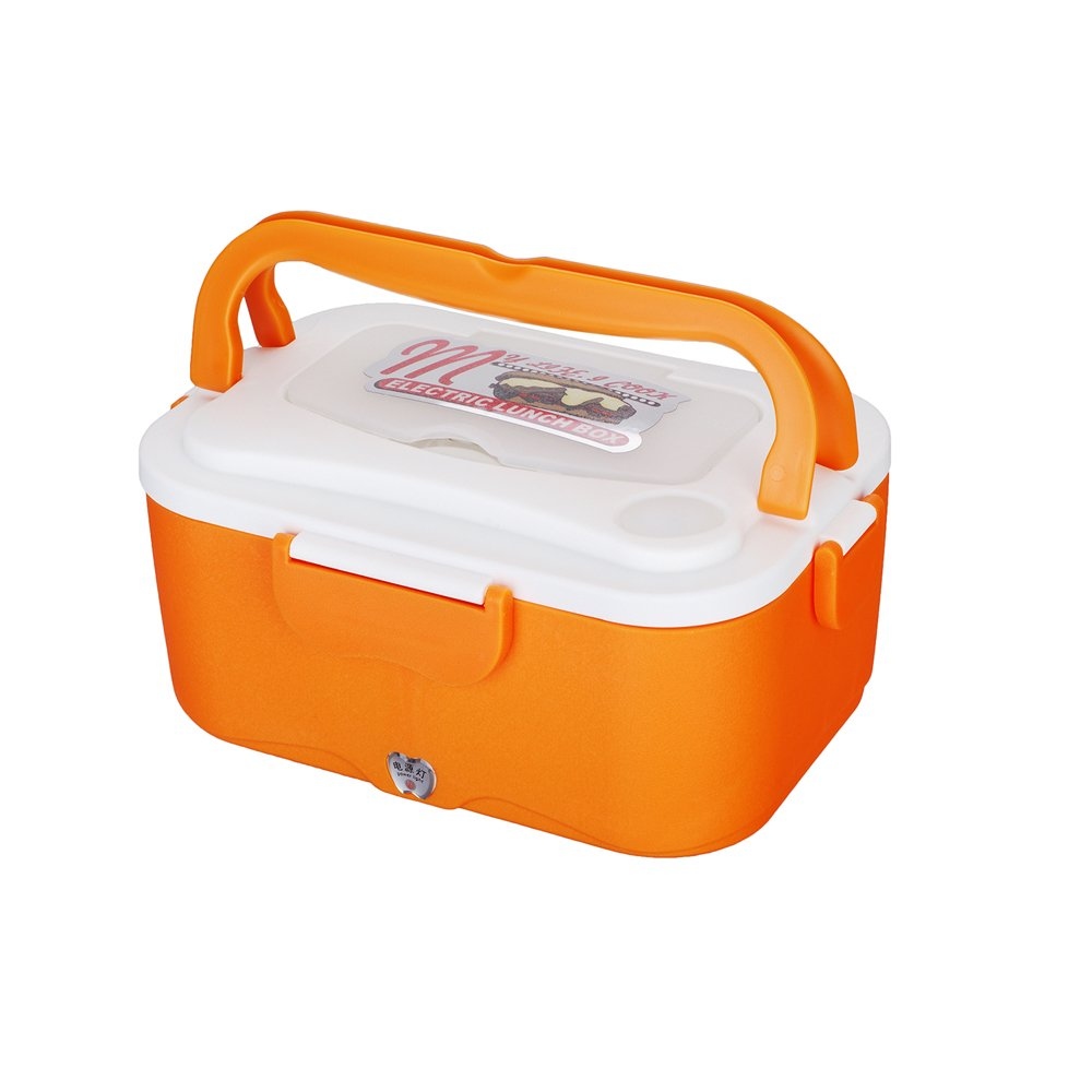 12V Car Electric Lunch Box,- Portable Food Heater Warmer w/2-Compartment Removable Stainless Steel Container Food Grade - 1.5L Heating Warm Lunchbox - Travel & Office For Adults, Kids, Driver Orange