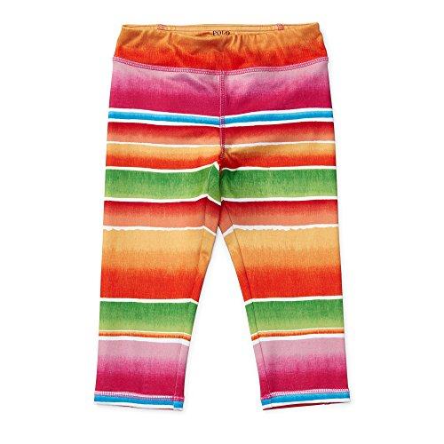 RALPH LAUREN Girls Cropped Stretch Jersey Legging, 6, Pink/Orange Multi