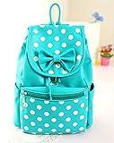 Fasion PU Shoulders Bag Backpack Bow Dot Student Bagpack for Women PU (Skyblue)