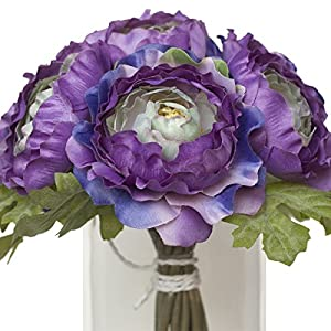 Lavender and Green Silk Ranunculus Bouquet - Wedding Party Flowers Arrangements Gift 15