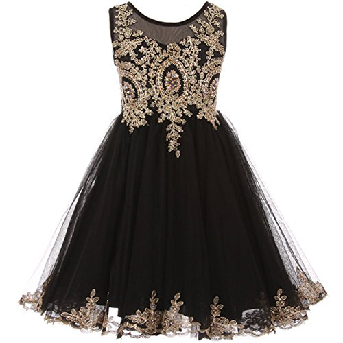 (Big Girls Satin Stretchable Tulle Bodice Golden Pattern with Gold Rhinestone Girl Dress Black - Size 14 )