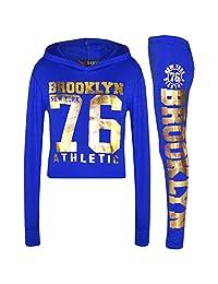Girls Tops Kids Brooklyn 76 Print Hooded Crop Top Legging Lounge Wear Set 7-13Yr